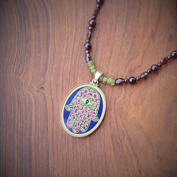 Sacred Geometry Hamsa Evil Eye Necklace Stone Beads Garnet Peridot Handmade Gemstone Metaphysical Chakra Kynd Vallley