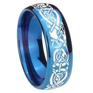 8MM Glossy Blue Dome Celtic Dragon Tungsten Carbide Laser Engraved Ring