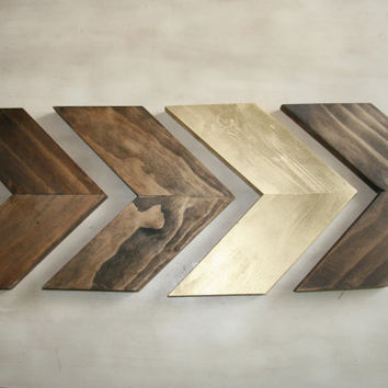 Set of 4 Small Wood Chevron Arrows. Wood from ModernRusticBoutiqu