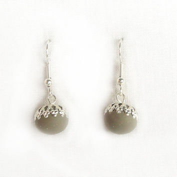 Round ball earrings filigraine setting grey color minimalistic handmade polymer clay earrings