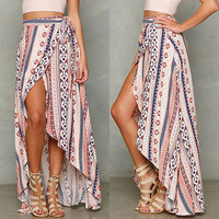 New Women Boho Tribal Floral Skirt Maxi Summer Beach Long Casual Skirt Sun Beach Maxi Skirt
