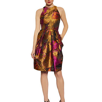 Carmen Marc Valvo Sleeveless Metallic Print Dress