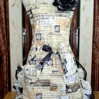 Womens Apron Paris Print With Black Lace and French Print Contrasting Ruffle