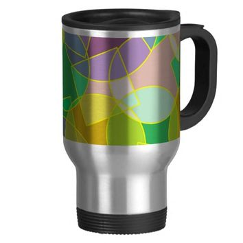 Stained glass geometric pattern 15 oz stainless steel travel mug