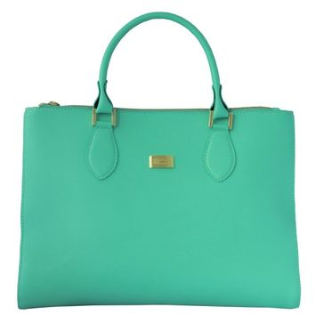 PorStyle Women Leather Pouch removable Career Tote Handbag Mint M