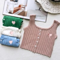 Heart Knitted Crop Top