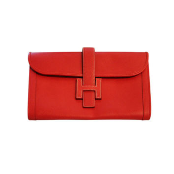 Hermes - Hermes Red Leather Hermes Clutch