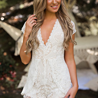Ava Crochet V Neck Romper (White)