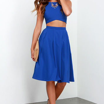 Nifty-Fifty Royal Blue Two-Piece Dress