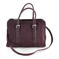 Francesco Biasia Purple Leather and Canvas Italian Satchel Bag Crossbody Tote $489.