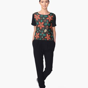 'Deck the Halls (Black)' Women's Chiffon Top by lalainelim