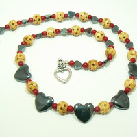 Hematite Coral and Carved Bone Choker