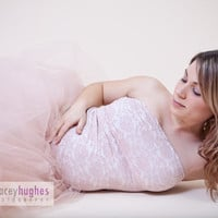 Beautiful Maternity Full Length Tulle Tutu Skirt Great for Photo shoots Costumes Wedding Gown Pregnancy