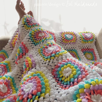 Crochet Blanket Pattern PDF - Yummy Flower granny square - photo tutorial baby floral blanket - Instant DOWNLOAD