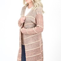 Thick Stitch Metallic Ombre Cardigan {Dusty Pink}