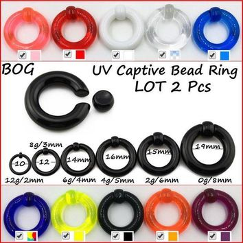 ac PEAPO2Q Pair UV Acrylic Big Large Size Giant Spring Load Captive Bead Ring Ear Tunnel Plug Expander Guauge Piercing Body Jewelry Earring