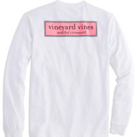 Vineyard Vines Long Sleeve Tee- Rectangle Logo- White