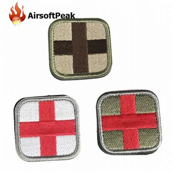AIRSOFTPEAK Medical Assistant Red Cross 3D Embroidery Patch With Magic Sticker Armband Tactical Gear Props Cloth Patches