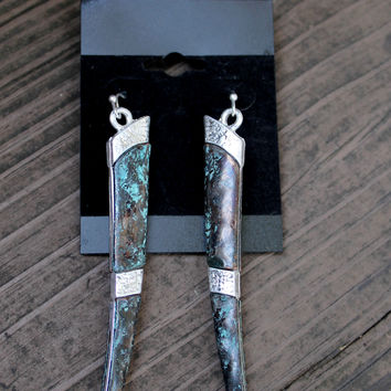 Silver Patina Horn Earrings