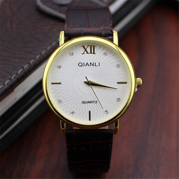 Mens Retro Style Leather Strap Watch Best Christmas Gift