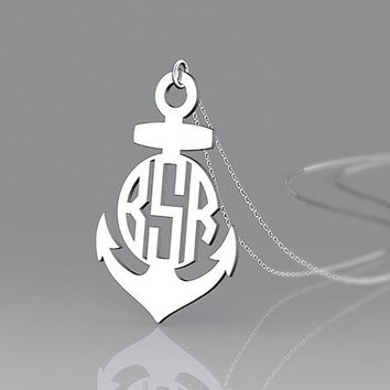 Anchor jewelry 1.25 inch customize monogram 925 sterling silver necklace jewelry as present