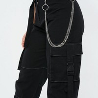 Missguided - Fanny Lyckman x Missguided Black Combat Chain Pants