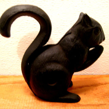 Black, Cast, Iron, Squirrel, Nutcracker, Woodland, Decor,  Home, Cottage, Barware, Mancave, Hunter, Metal, Figurine, Ornament, Animal, Snack