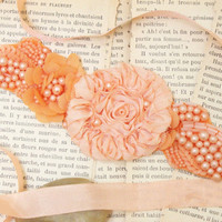 Peach Flower and Pearl Beading Lace with Peach Silky Ribbon Sash // Head tie, Headband // Bridesmaids Sash , Bridal Sash