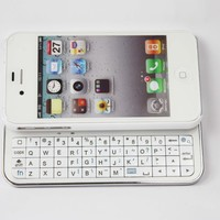 FOM Ultra-thin Wireless Bluetooth 2.0 Slide-out Back Light Keyboard for iPhone4/4S-White