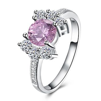Pink Sapphire Curved Cocktail Pav'e Ring 925 Sterling Silver Unique Casual Rings