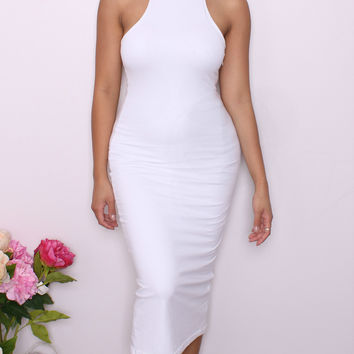 """Francesca"" White Double Lined Turtleneck Dress"