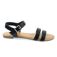 Inspire49M by Bamboo, Black Pu Women Flat Sandal w Double Front Strap & Ankle Strap