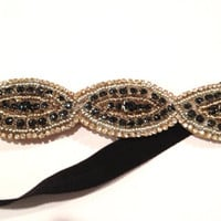 One Anthropologie Inspired Beaded Rhinestone Appliqué Black Metallic Silver Bronze Gold Detailed Embellished Stretch Headband Photo Prop