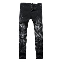 Black Men's Fashion Stretch Casual Men Jeans [127702925341]