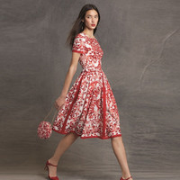Red Paisley Print Short Sleeves Swing Midi Dress