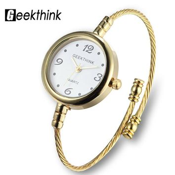 GEEKTHINK Unique Fashion Brand Quartz Watch Women Bracelet Ladies Rose Gold Watch female Simple Ring steel band casual