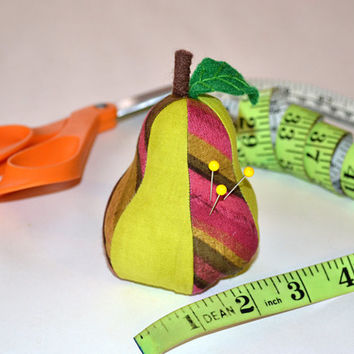 MOD PEAR, Designer Pincushion, Fabric Pincushion, Sewing, Quilting, Embroidery, beading, pin, needle, Felt Leaf