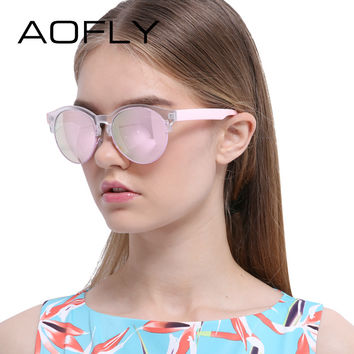 AOFLY Sunglasses Fashion Cat Eye Sun glasses Retro Eyeglasses Women Brand Designer Mirror Round Shades UV400 Oculos Gafas De Sol