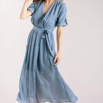 Karla Dusty Blue Wrap Midi Dress