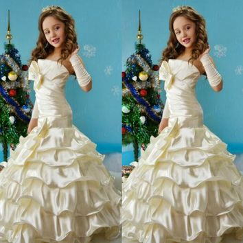 Hot Strapless Mermaid Flowers Girl Dress 2016 For wedding party Bow Ruffle Formal Dresses Girl's Pageant Gowns Floor-length