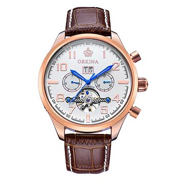 Classic Day Date Calendar Automatic Tourbillon Brown Leather Strap Analog Men's Mechanical Watch Rose Gold