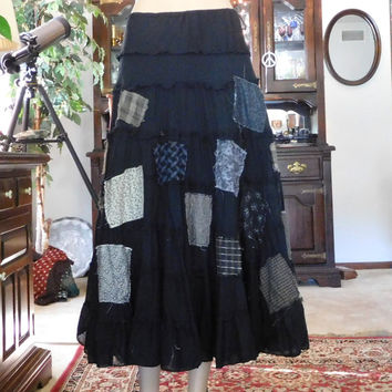 Patched Broomstick Skirt Black Layered Midi Maxi Patchwork Flair Hippie Shabby Bohemian Boho Style Size 12 Drawstring Zipper Festival