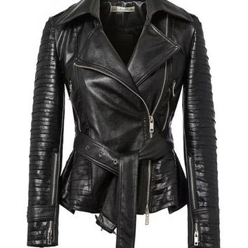 Black Lapel Long-Sleeve Faux Leather Short Biker Belted Jacket