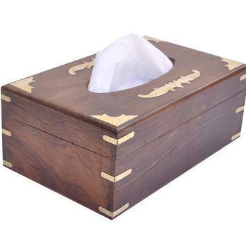 Big Family Size Kleenex Wood Tissue Box Cover with Big Brass Overlays - Looks Like an Antique with an Old World Charm