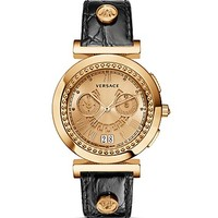 Versace Vanity Chronograph Round Rose Gold PVD Watch with Golden Sunray Dial, 40mm