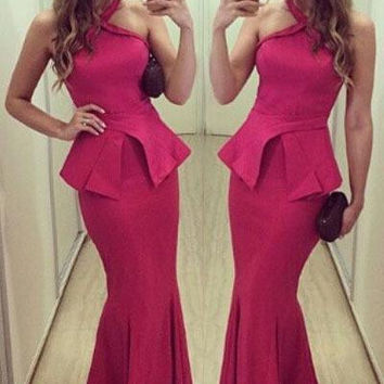 vestido women long autumn winter long dresses novelty design elegant 2016 Rosy Halterneck Peplum Mermaid Dress LC60113
