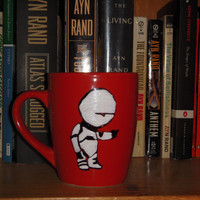 """Douglas Adams Hitchhikers Guide to the Galaxy Marvin Hand Painted Quote Mug """"Space is Big."""", orange medium sized mug"""
