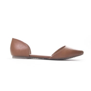 Tan Doll Point Toe Flats - TAN