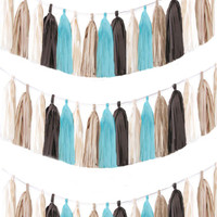 Tassel garland chocolate brown, baby blue, antique white and khaki tissue paper tassel // birthday // wedding // baby shower