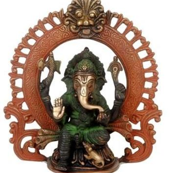 Brass Tri Color Ganesh Under An Arch Statue From India 9 Inch